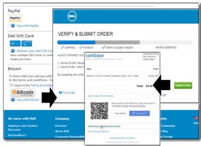 Оплата биткоином на Dell.com