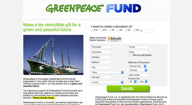 Greenpeace-donation-page