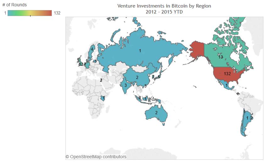 Количество биткоин-компаний, получивших венчурные инвестиции, по регионам
