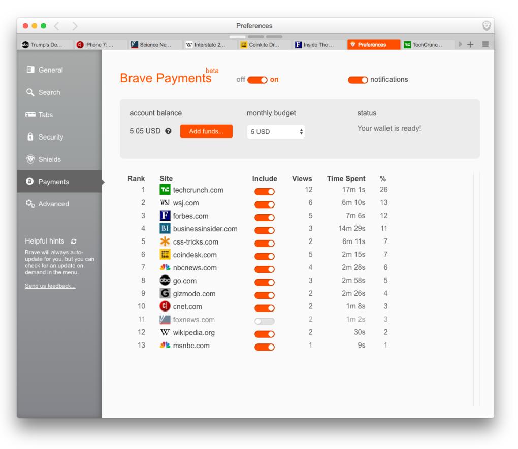 Пример списка сайтов в Brave Payments