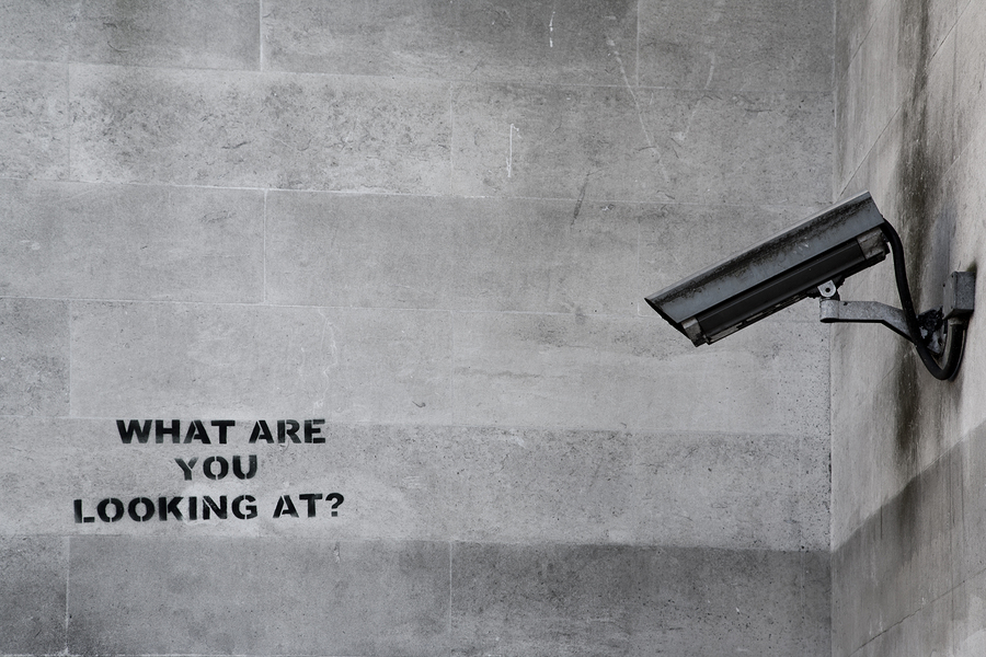 LONDON, UK - SEPTEMBER 15th 2014: Banksy's 'CCTV' Graffiti in London