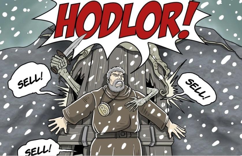 En-esta-ilustración-se-juega-con-los-términos-Hodler-guardar-BTC-y-Hodor.