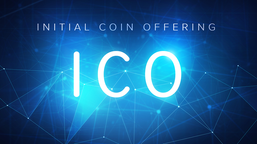 ICO initial coin offering futuristic hud background with world m