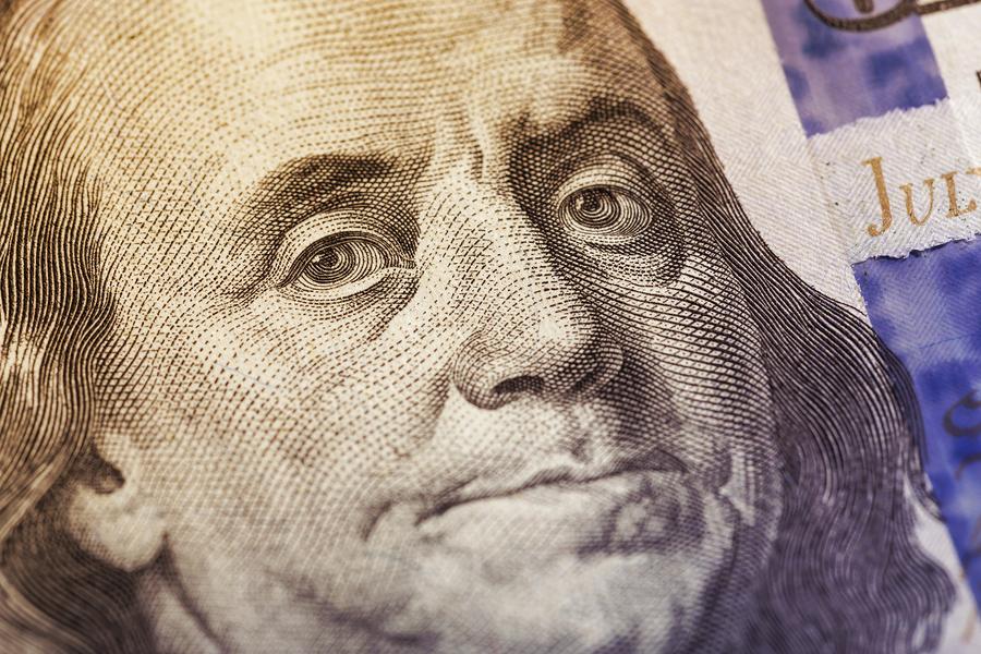 Macro Shot Of A 100 Dollar. Dollars Closeup Concept. American Do