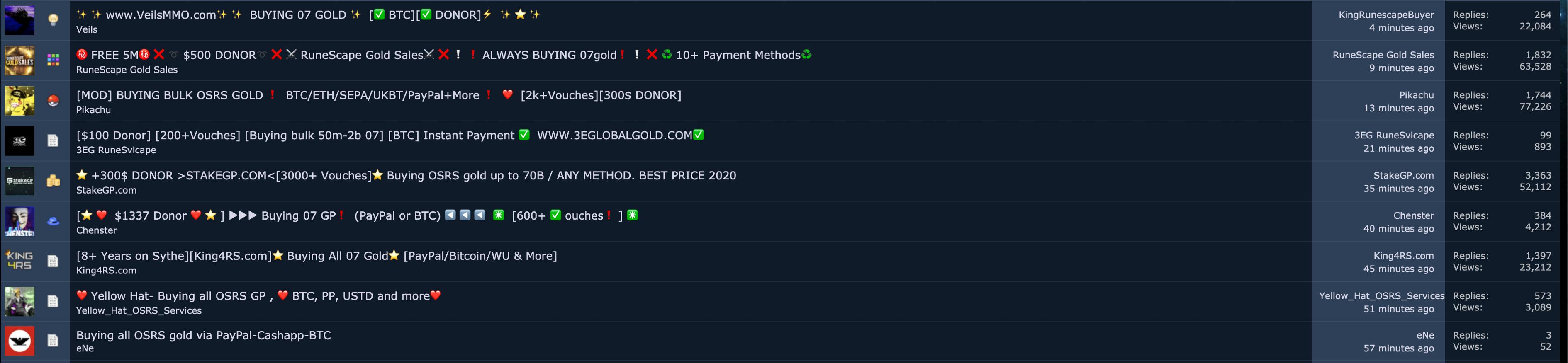 Трейдеры, продающие биткоины в обмен на золото RuneScape (Sythe.org).